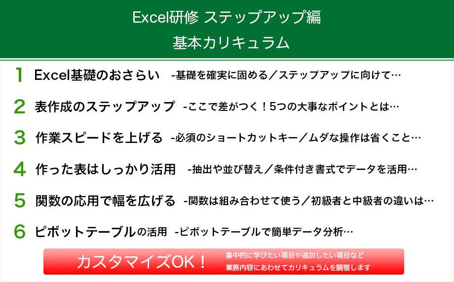 Excel研修 ステップアップ編